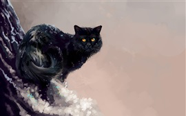 Preview wallpaper Art painting, black cat, winter, tree