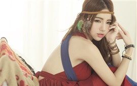 Preview wallpaper Asian girl, red dress, pose