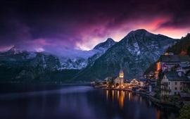 Áustria, Hallstatt, noite, lago, casas, montanhas, luzes