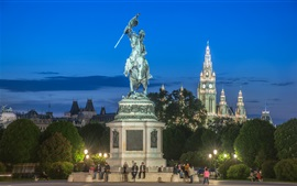 Austria, Hofburg, Vienna, monument, people, night