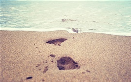 Preview wallpaper Beach, sea, foams, sands, footprints