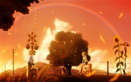 Preview wallpaper Beautiful anime scenes, girl and boy, trees, rainbow, railway, warm