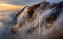 Preview wallpaper Beautiful nature landscape, mountains, cliff, rocks, fog, morning