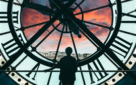 Big clock, girl, city