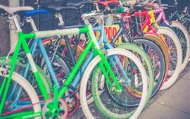 壁紙のプレビュー 自転車、カラフルな駐車場