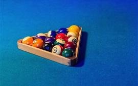 Bilhar, bolas coloridas, triângulo