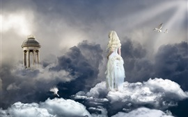 Preview wallpaper Blonde girl, angel, sky, clouds, birds, paradise
