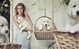 Preview wallpaper Blonde girl, curly hair, dogs