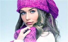 Preview wallpaper Blue eyes girl, purple scarf