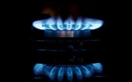 Синий огонь, пламя, плита, горелка