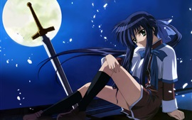 Preview wallpaper Blue hair anime girl, night, moon, sword