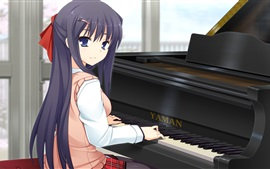 Blue hair anime girl play piano