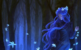 Preview wallpaper Blue hair fantasy girl, flowers, forest