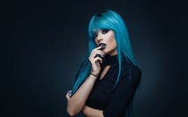 Preview wallpaper Blue hair girl, makeup