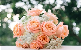 Bouquet, pink rose, wedding flowers