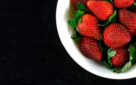 Preview wallpaper Bowl, fresh strawberries, fruit photography