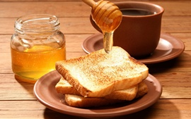 Preview wallpaper Bread, honey, food