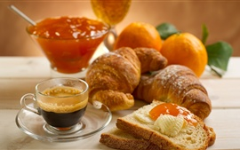 Preview wallpaper Bread, jam, coffee, breakfast