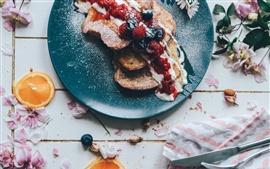 Завтрак, бутерброды, варенье, десерт, цветы