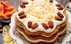 Торт, сливки, орехи, десерт