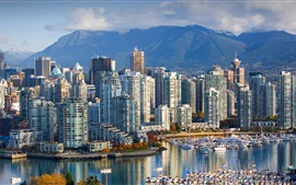 Canada, Vancouver, city, skyscrapers, harbour, British Columbia