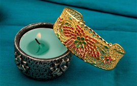 Preview wallpaper Candle, flame, gold decoration accessories