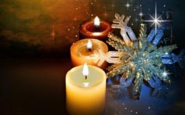 壁紙のプレビュー キャンドル、炎、火、雪片、輝き、クリスマスのテーマ