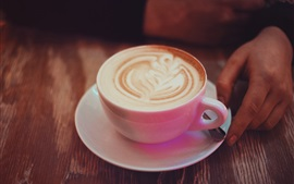 Cappuccino coffee, pink cup