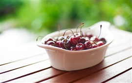 Preview wallpaper Cherries, bowl, wood table