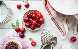 Preview wallpaper Cherry, water drops, jam, sugar
