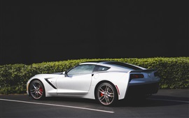 Preview wallpaper Chevrolet Corvette white supercar side view