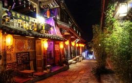 China, viagem, cidade, rua, loja, noite, luzes