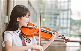 Preview wallpaper Chinese girl play violin, smile