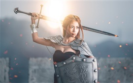 Chinese girl, shield, sword, sun, retro style