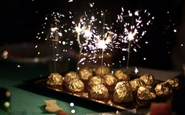 Chocolate ball candy, sparks