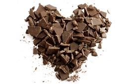 Chocolate love heart, white background