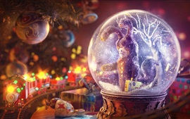 Preview wallpaper Christmas decoration, ball, rabbit