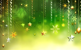 Preview wallpaper Christmas decorations, green background, stars, balls, snowflake