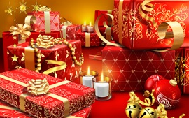 Preview wallpaper Christmas gifts, candles, red style