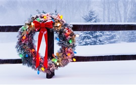 Preview wallpaper Christmas wreath, winter, snow, fence