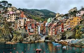 Aperçu fond d'écran Cinque Terre, Italie, jetée, bateaux, maisons