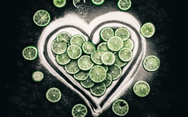 Citrus slices, lime, love heart
