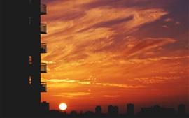 Город, балкон, закат, небо, солнце