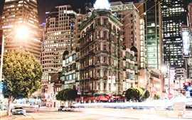 City night, buildings, houses, windows, lights, road, cars