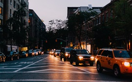Preview wallpaper City, night, road, cars, lights