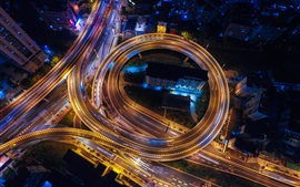 City, night, road, traffic, lights, top view