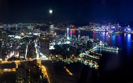 City night view, Hong Kong, arranha-céus, mar, luzes