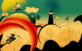 Preview wallpaper City, tower, circles, colorful, art picture