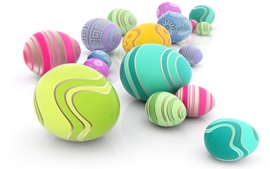 Colorful eggs, white background, Easter