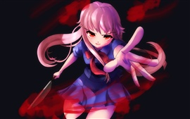 Preview wallpaper Crazy anime girl, knife, blood